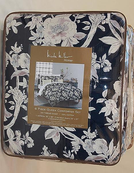 Amazoncom Nicole Miller Andreas Floral Comforter Set 100 Cotton