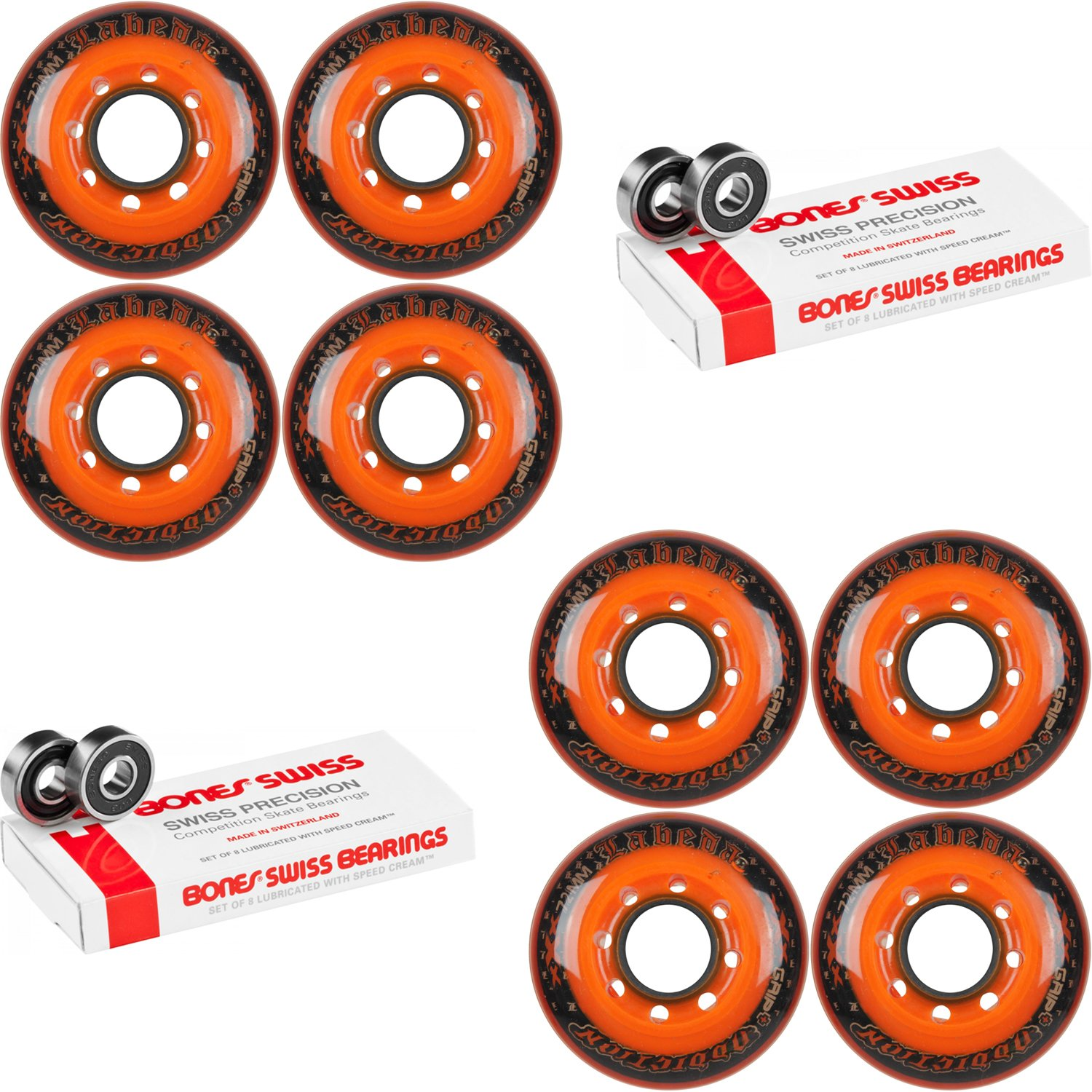 Labeda Addiction Wheels Addiction XXX Grip+ 72mm Roller Hockey 8-Set Bones Swiss by Labeda