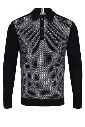 Gabicci Weaver Long Sleeve Polo Shirt | Black: Amazon.es: Ropa y ...