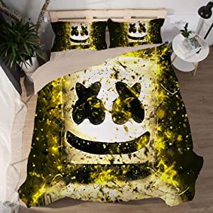Yicool 3 Piece Queen Size Bedding Sheet Set Music DJ Polyester Blend Quilt Cover and Pillowcases Cartoon Happer Helmet Style