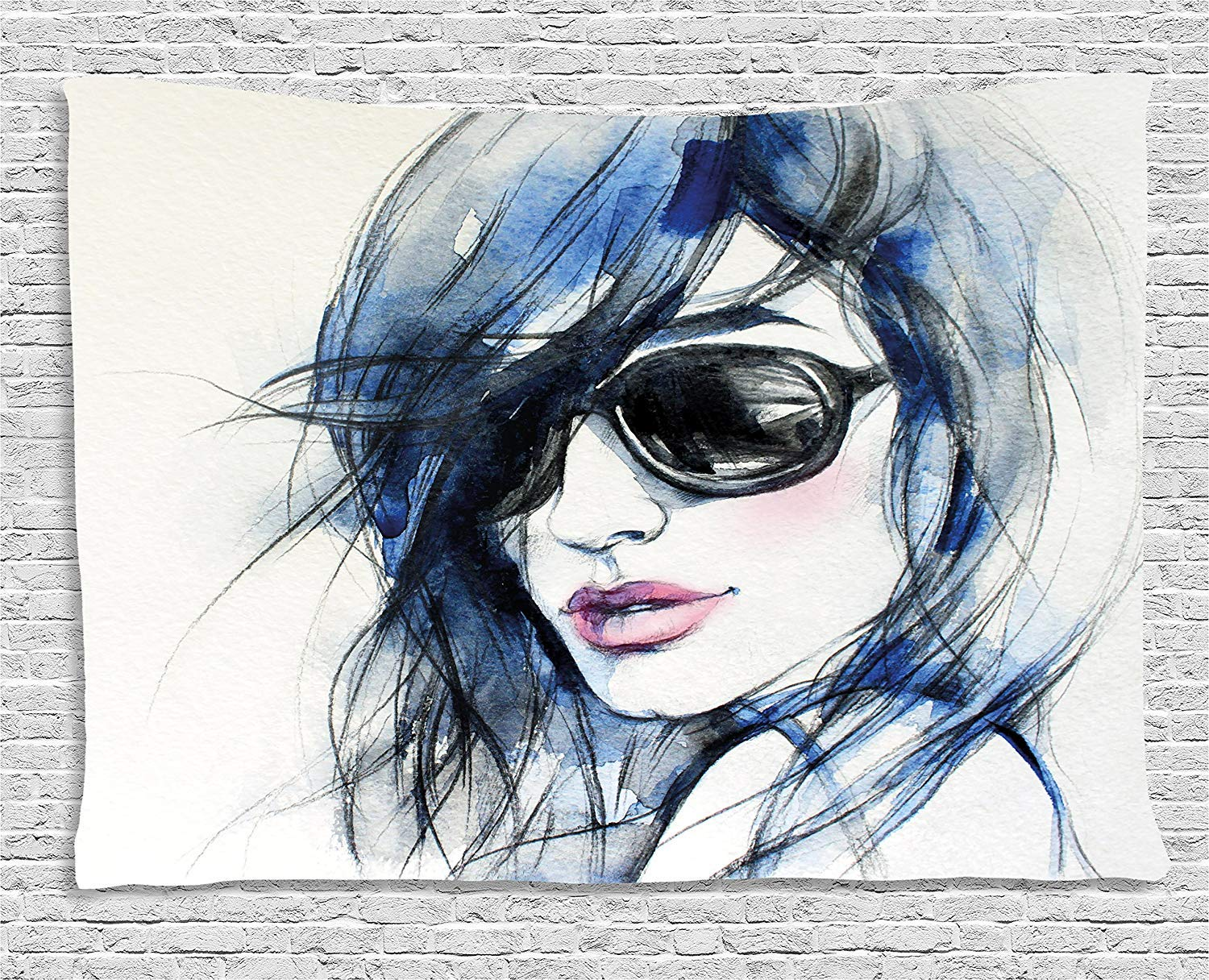 THndjsh Abstract Tapestry, Watercolor Woman with Sunglasses and Blue Hair Portrait Hand Drawn Picture, Wall Hanging for Bedroom Living Room Dorm, 60 W X 40 L Inches, Coconut Blue and Black