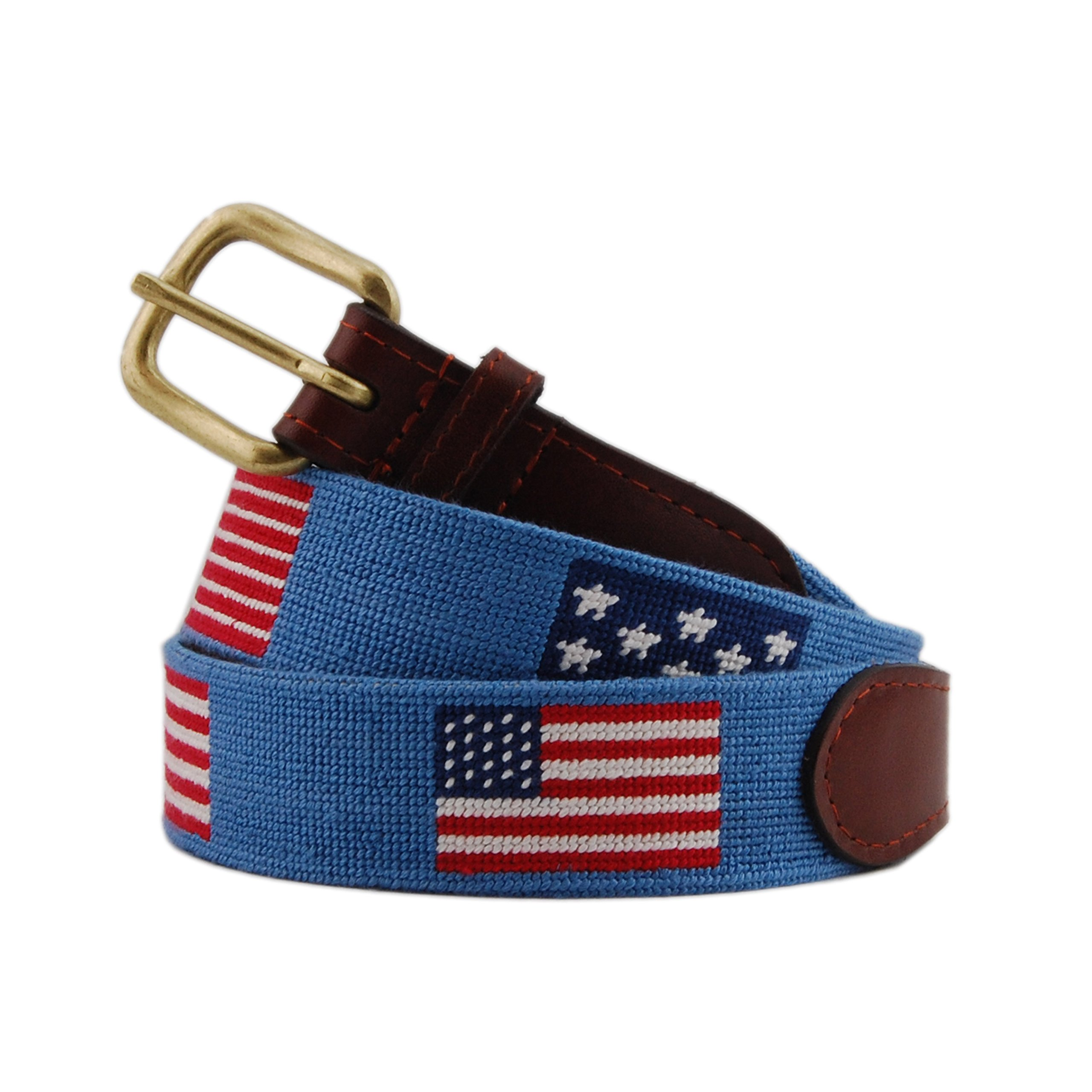 Smathers & Branson Men's Flags of our Fathers Needlepoint Belt 42 Stream Blue