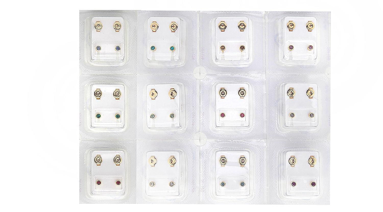 Piercing Surgical Steel 12 Pairs Stud 4mm Earrings Set Birthstones Claflon large CAFLON JSP101-BS