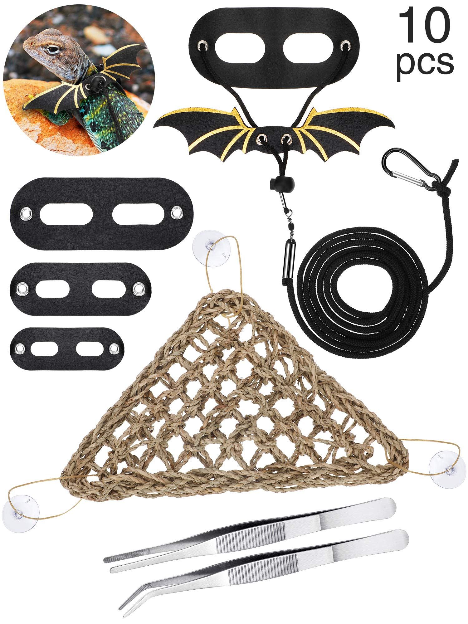 Bearded Dragon Hammock 3 Pieces Lizard Leash Adjustable Bearded Dragon Leather Harness with Rope, 2 Pieces Feeding Tweezers, 3 Pieces Suction Cup Hooks for Small, Medium and Large Reptiles, 10 Pieces by Boao
