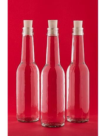 SLK-Juego de 6 botellas de vidrio, con tapas