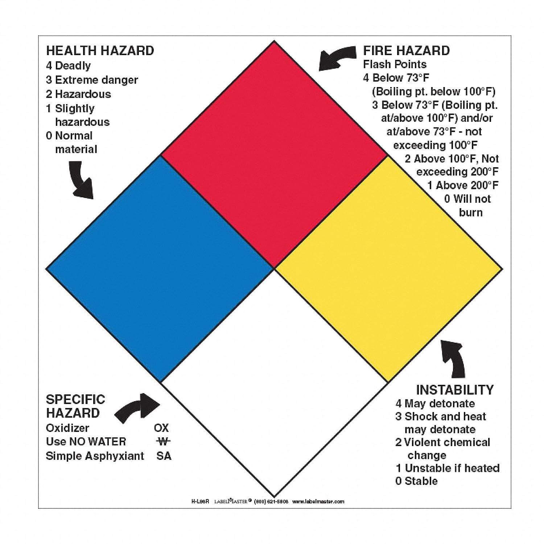 LABELMASTER H-L98R NFPA Diamond Sign,10-3//4inx10-3//4in