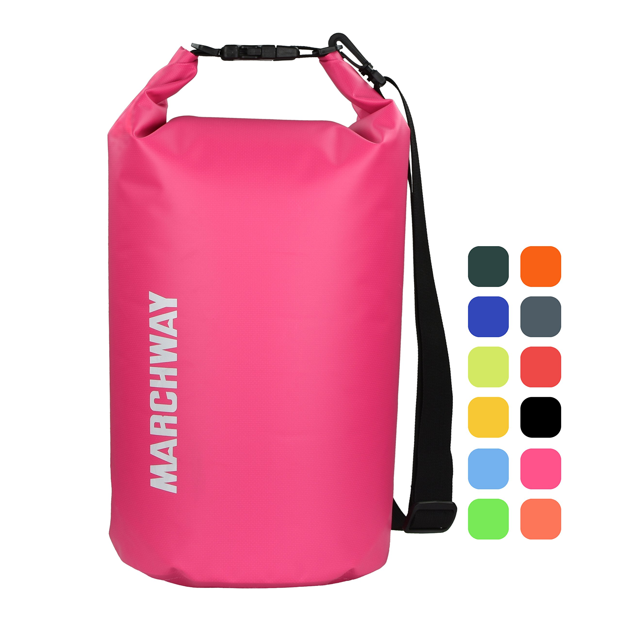 MARCHWAY Floating Waterproof Dry Bag 5L/10L/20L/30L, Roll Top Sack Keeps Gear Dry for Boat, Beach, Kayaking, Rafting, Boating, Swimming, Camping, Hiking, Canoeing, Fishing (Pink, 10L) by MARCHWAY