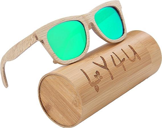 LY4U Lunettes de soleil en bois pour homme et femme, Lunettes Vintage, Lunettes de soleil flottantes avec boîte en bambou (marron)