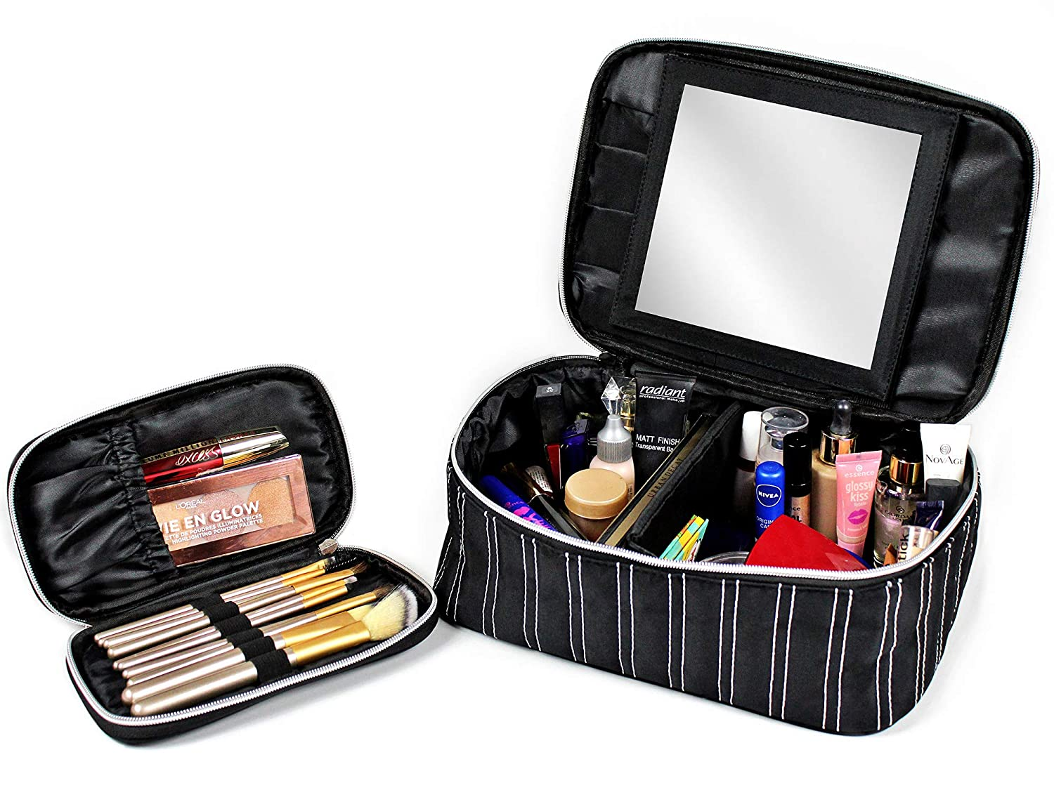 Makeup Bag With Mirror - Cosmetic Travel Train Case for Women - Toiletry - Brush Organizer Bonus by MESSALI