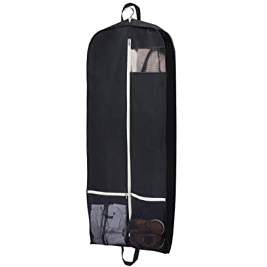 Sleeping Lamb Breathable Garment Bag 54  Dress Suit Cover with 2 Large Mesh Pockets, Black