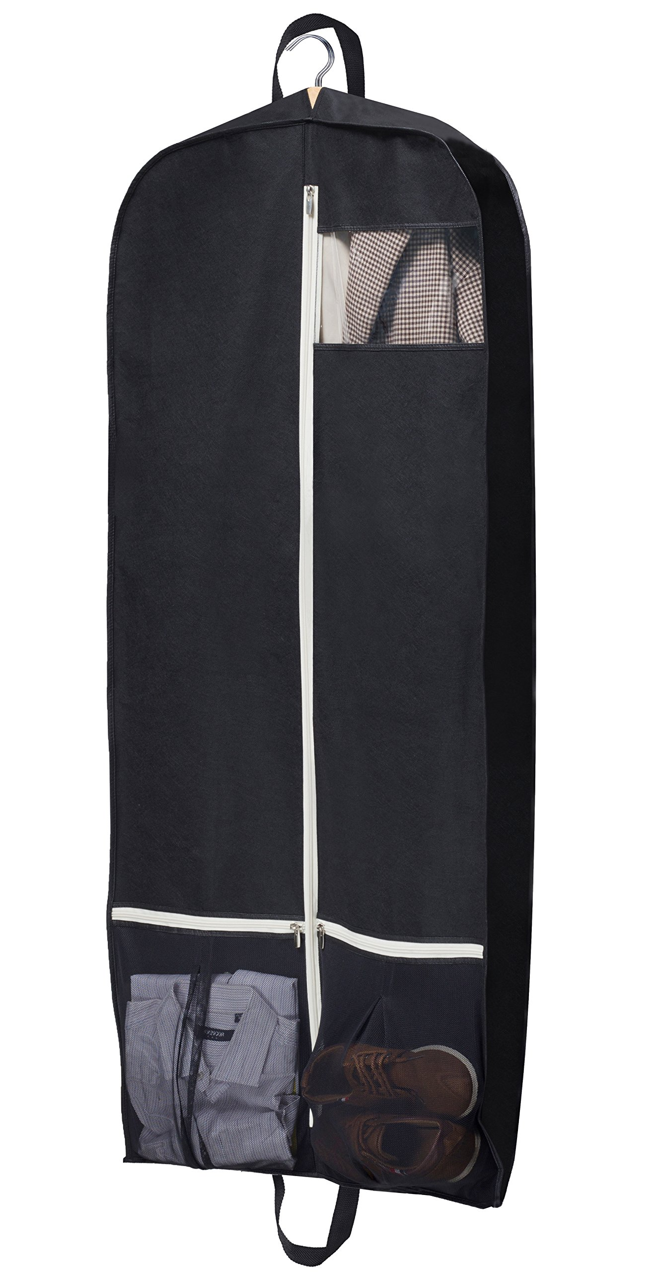 Breathable Garment Bag 54'' Dress Suit Cover with 2 Large Mesh Pockets, Black by SLEEPING LAMB
