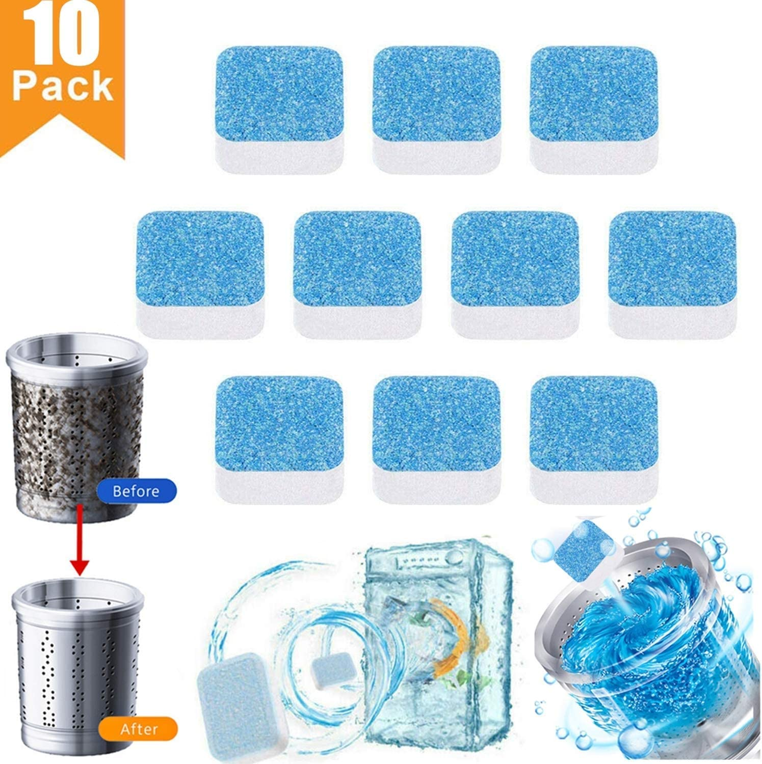 uhmhome Washing Machine Cleaner Tablet - Washer Machine Cleaner for Front & Top Loader Tablet Tub Bomb Deep Cleaning for Home & Kitchen(10 Pack)