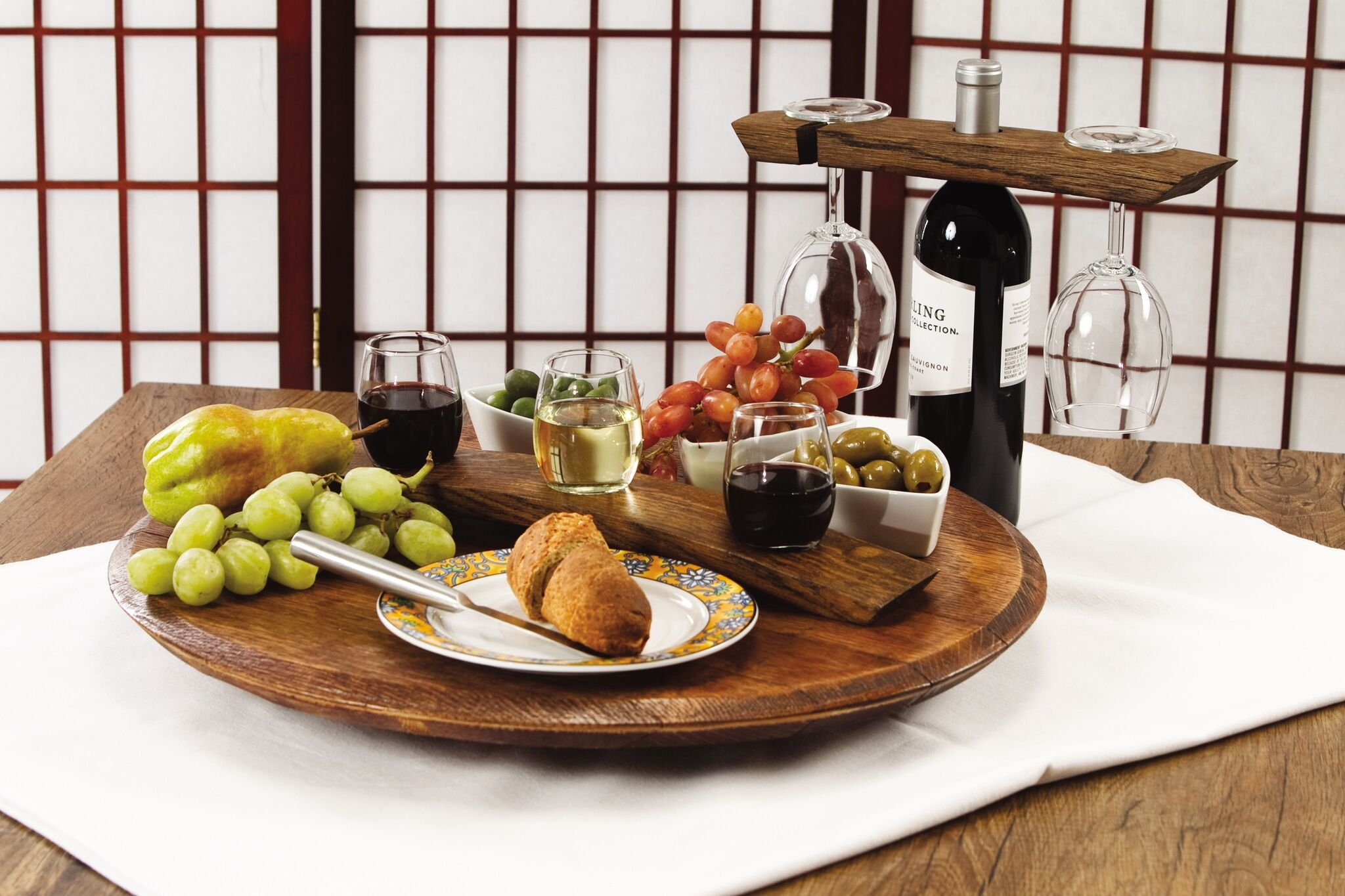 Lazy Susan Made From French Wine Barrel Staves hand crafted Made In the USA by Picnic Plus