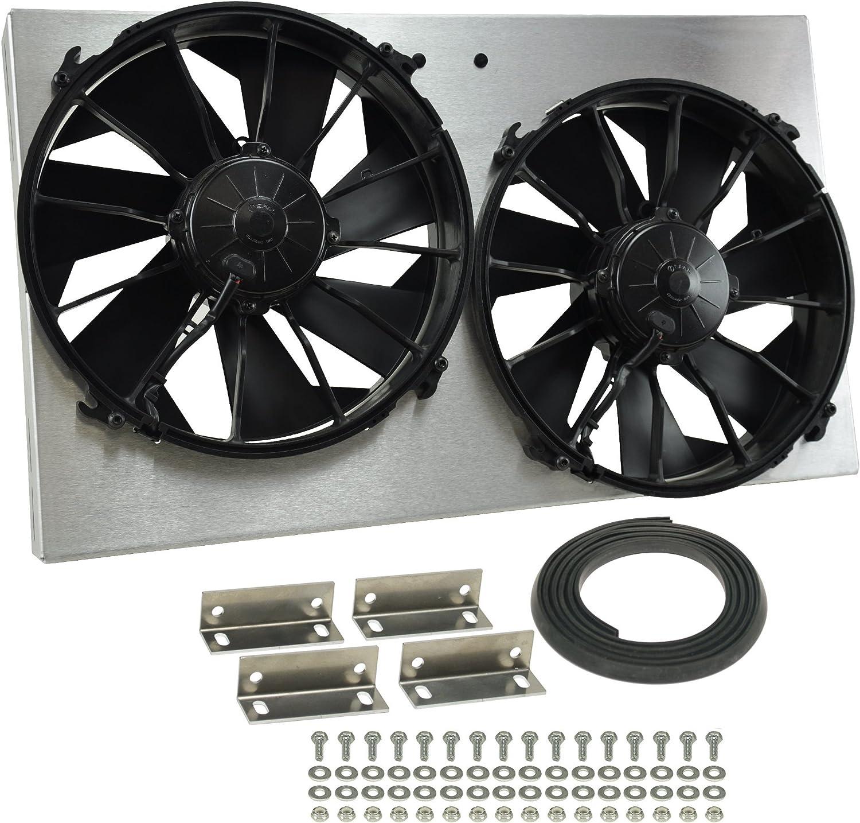 Derale Performance 16826 Gray//Black High Output Dual Radiator Fan