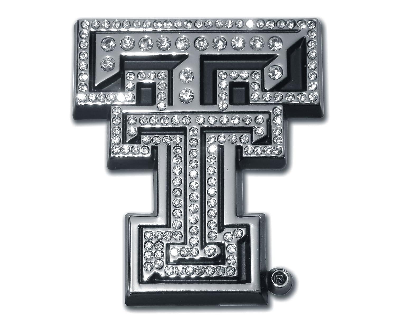 Emblem Elektroplate Texas Tech University Chrome TT with Austrian Crystals 3 x 2.75 x .125 Crystal