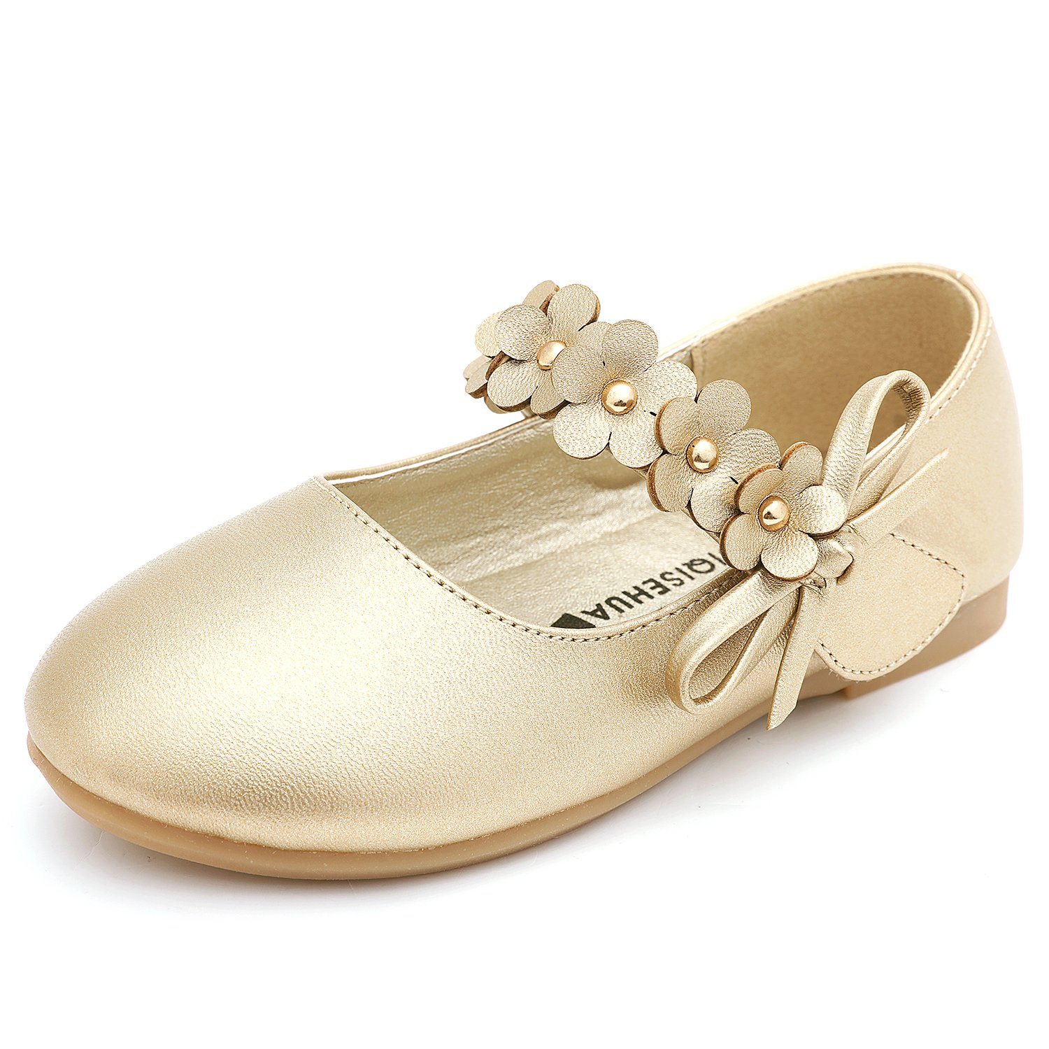 UBELLA Girls Strap Flower Mary Jane Shoes Ballet Flats Wedding Dress Shoes (Toddler/Little Kids