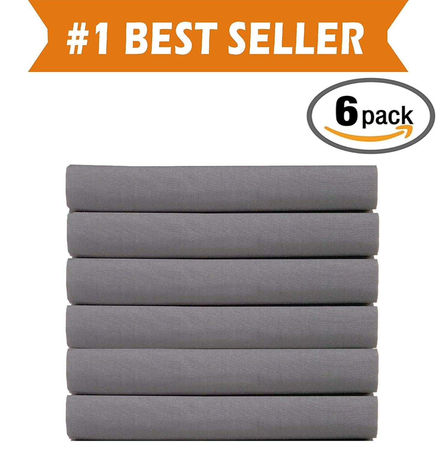 (6-PACK) Luxury Fitted Sheets! PREMIUM HOTEL QUALITY Elegant Comfort Wrinkle-Free 1500 Thread Count Egyptian Quality 6-PACK Fitted Sheet with Storage Pockets on Sides, Twin/Twin XL Size, Gray