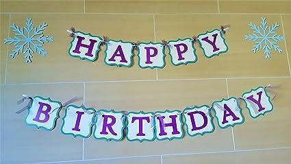 Amazon.com: Feliz Cumpleaños Banner de papel – Disney Frozen ...