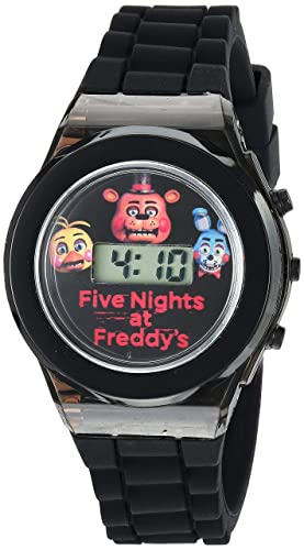 Five Nights at Freddys Kids Digital Watch with Black Case, Flashing LED Lights, Black Silicone Strap - FNaF Characters on the Dial, Safe for ...