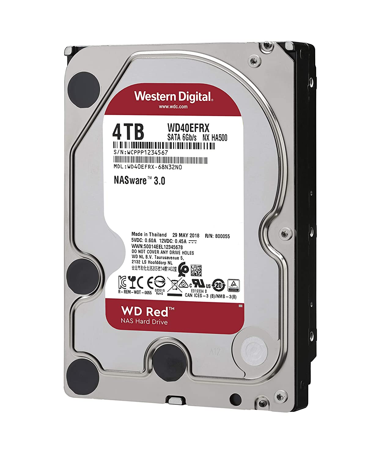 Western Digital Red 4TB NAS Hard Disk Drive - 5400 RPM Class SATA 6 Gb/s  64MB Cache 3 5 Inch - WD40EFRX
