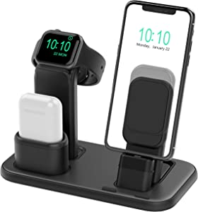 BEACOO Upgraded 3 in 1 Charging Stand for iWatch Series 6/5/4/3/2/1, Charging Station Dock Compatible with Airpods Pro/1/2 iPhone Series 12/11/pro/Xs/X Max/XR/8/8Plus/7/6S(Charger & Cables Required)
