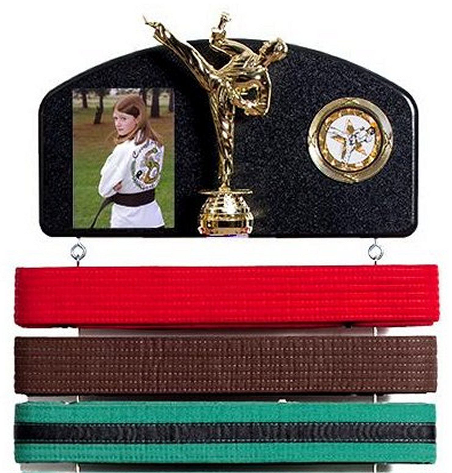 Martial arts belt display. Expandable to hold ALL your belts ! Male Trophy style.