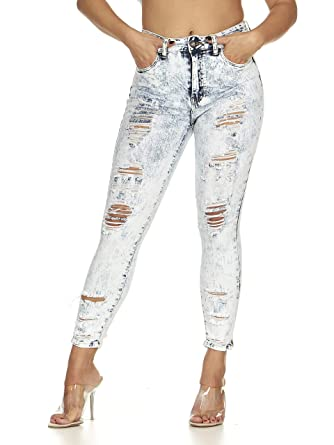 c1ae6e670be Ripped Slits Distressed Mid Rise Skinny Slim Fit Stretch Jeans for Women  Acid Wash Junior Size