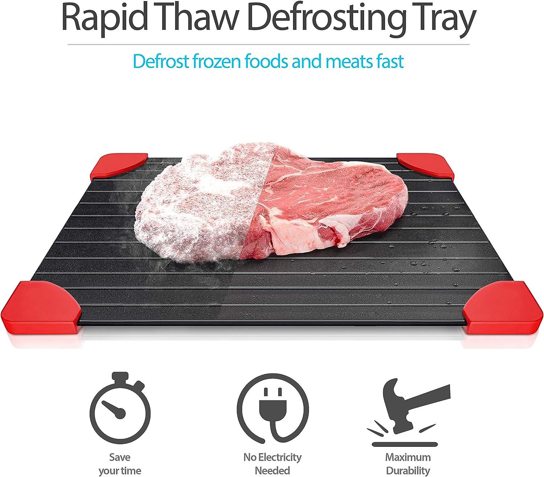 Rapid Thaw Abtauung Tablett/ Abtauung 36,6/x 20,6/cm /Gro/ß Auftauen Teller f/ür Frozen Fleisch/ /Sp/ülmaschinenfest Brett mit Ecken aus Silikon
