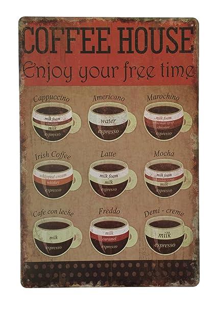 Café casa disfrutar de tu tiempo libre Tin Sign – Placa metálica diseño Retro de la