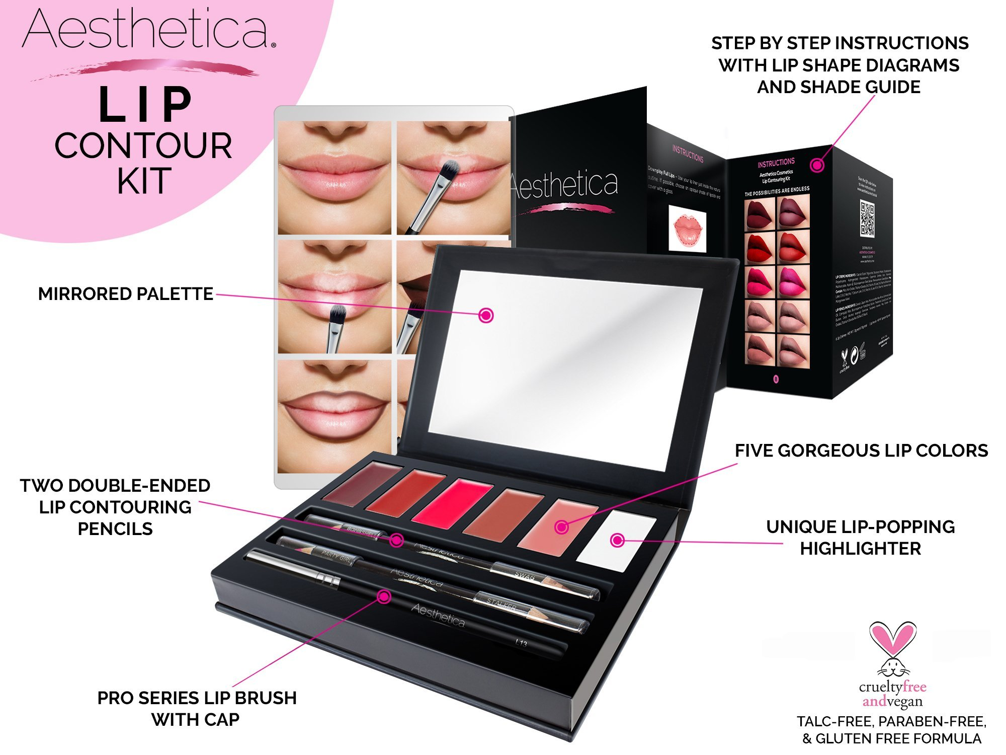 Aesthetica Matte Lip Contour Kit - Lipstick Palette Set Includes 6 Lip Colors, 4 Lip Liners, Lip Brush and Instructions by Aesthetica (Image #2)