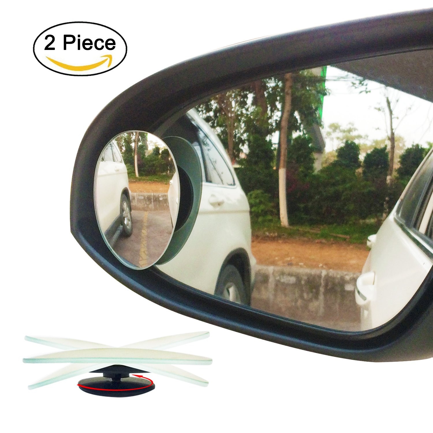 Ampper egg shape blind spot mirrors frameless 360 degree rotate sway adjustabe hd glass convex wide angle rear view car suv stick on lens pack of 2