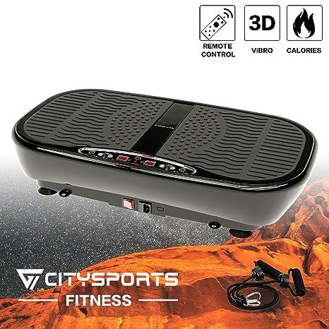 CITYSPORTS Plataforma Vibratoria, 3D Máquina de Energía Vibratoria, con Control Remoto y Bandas de Resistencia, 5 Modos Automáticos, Configuración de ...