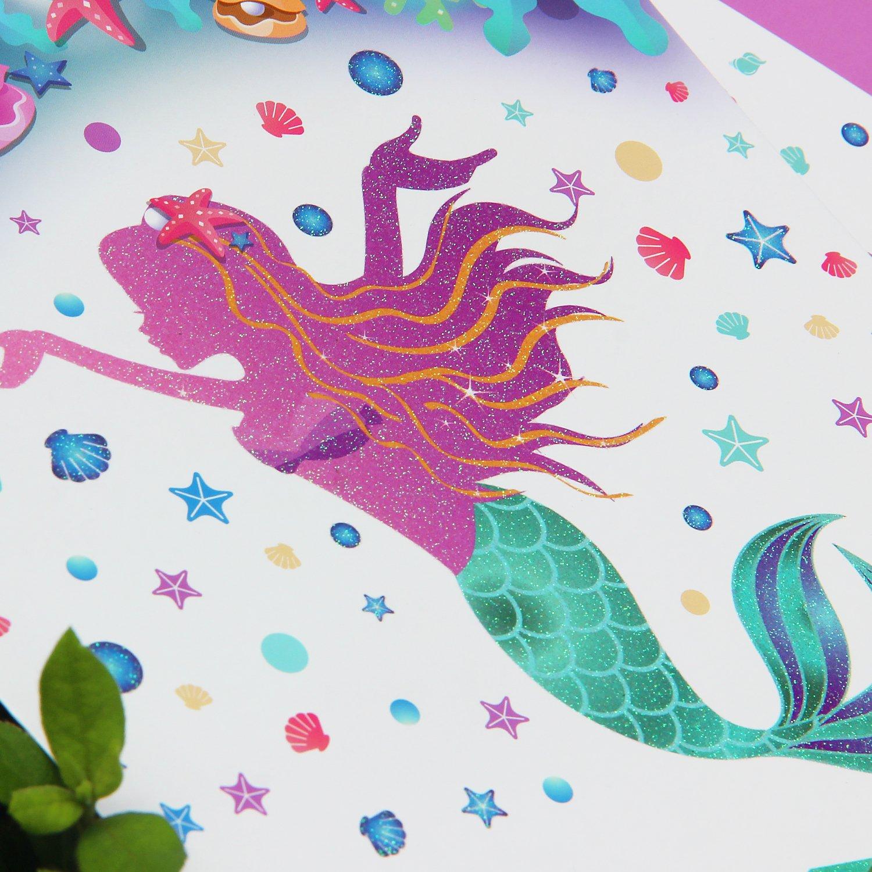 WERNNSAI Bandera de Cumplea/ños Sirena Decoraci/ón Accesorios de Fiesta Espumoso Feliz Cumplea/ños Pancartas Happy Birthday Bunting Banner Guirnalda para Chicas Ni/ños