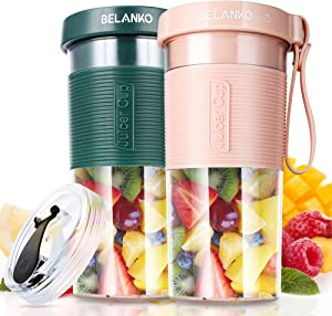 Portable Blender, BELANKO Personal Size Blender for Juice, Shakes and Smoothies, Food Grade Juicer Travel Blender Cup 11/20oz 60W with USB Rechargeable for Home, Sport, Office, Outdoors - 2 Sets