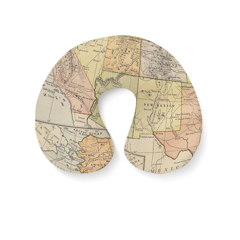ヴィンテージSouth West USAマップ旅行首枕インフレータブル Travel Pillow  B01EYQVU3Q