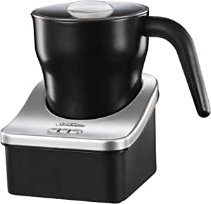 Sunbeam Café Creamy Automatic Milk Frother | 250ml Jug | Electric Milk Steamer for Lattes, Cappuccino, Hot Chocolate | Cold Mix Option for Iced Milk Drinks | EM0180, Black