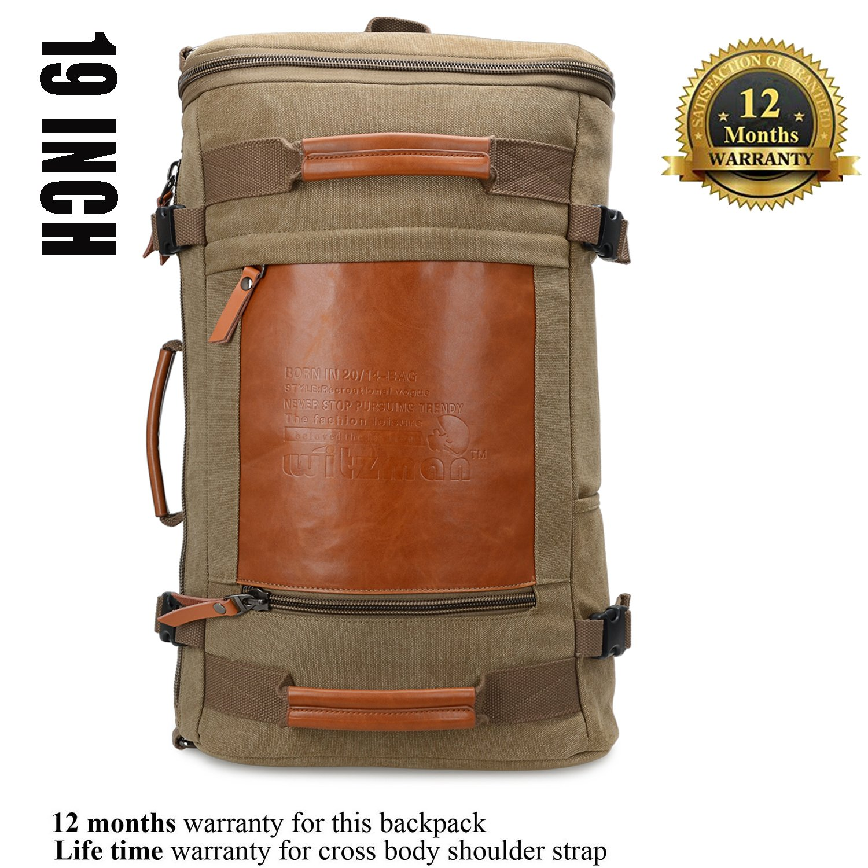WITZMAN Men Vintage Canvas Rucksack Travel Duffel Backpack Retro Hiking Bag 2033 (19 inch Green) by WITZMAN (Image #3)