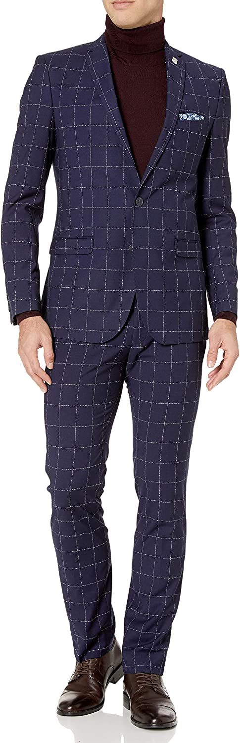 Nick Graham Men's Slim fit Stretch Finished Bottom Suit, Blue Windowpane, 36S