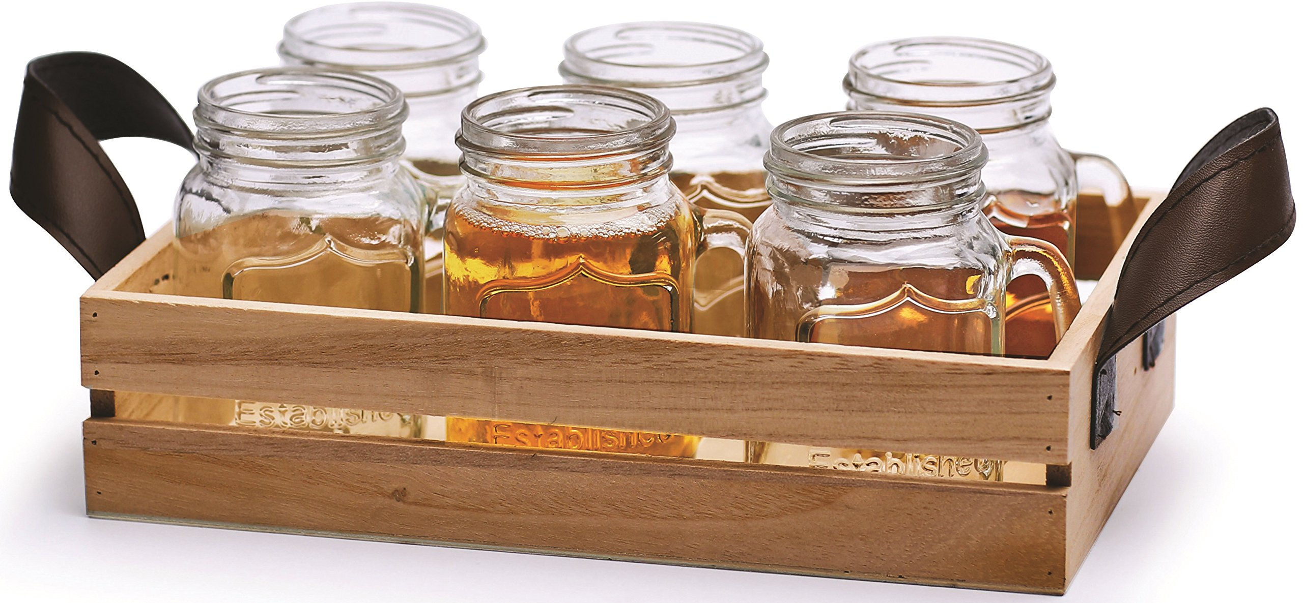Circleware Country 5 Ounce Mini MUG Clear Glass Shot Glass Set with Glass Handles and Wooden Tray, 7 Piece Glassware Drink Cup Set
