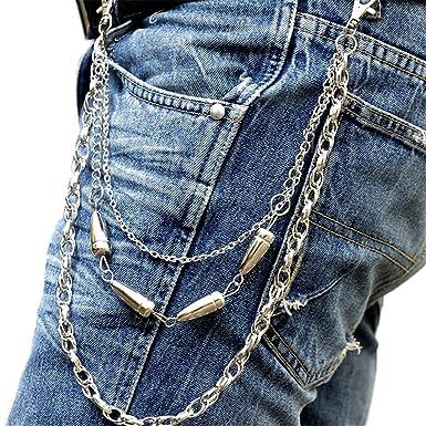 Amazon.com: anvei-nao macho pantalones clave Cadena Bullet ...