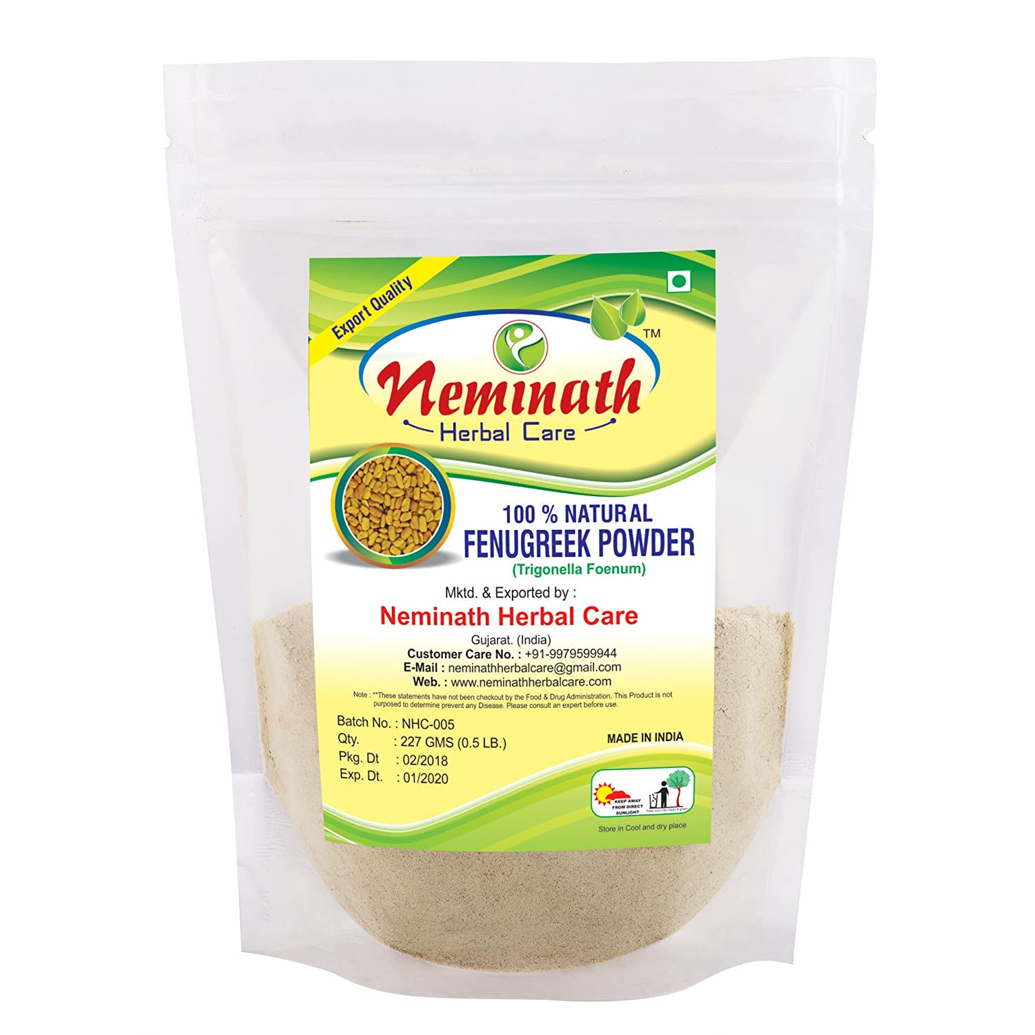 100% Natural Fenugreek Seeds (TRIGONELLA FOENUM GREACUM) Powder for LONG HAIRS...