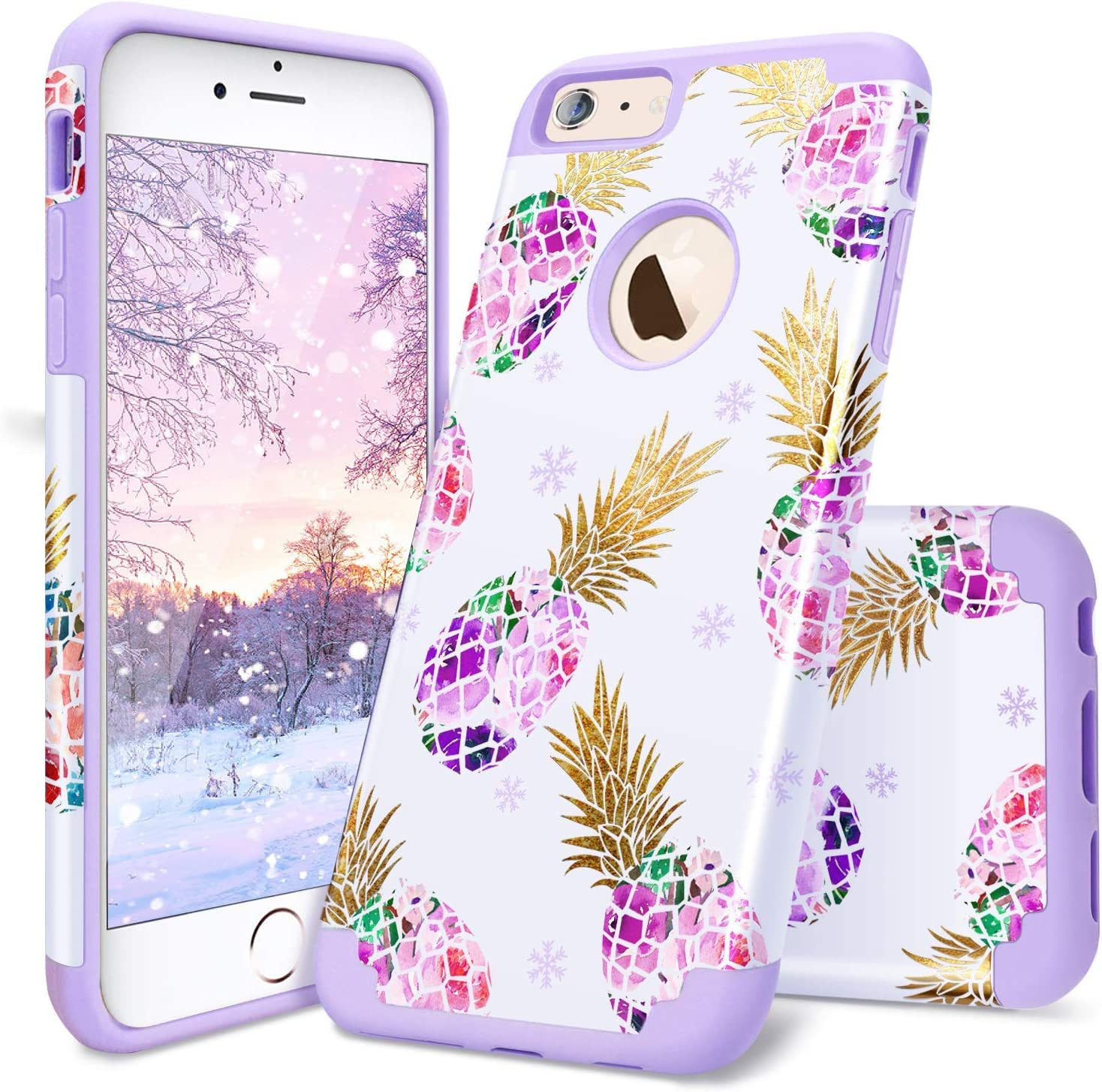 iPhone 6 Plus Case,Casewind iPhone 6s Plus Case Pineapple Glitter Slim Fit Hard PC Soft Silicone 2 in 1 Hybrid Protection Shockproof Anti Scratch Rugged Bumper Phone Case for iPhone 6s Plus,Purple