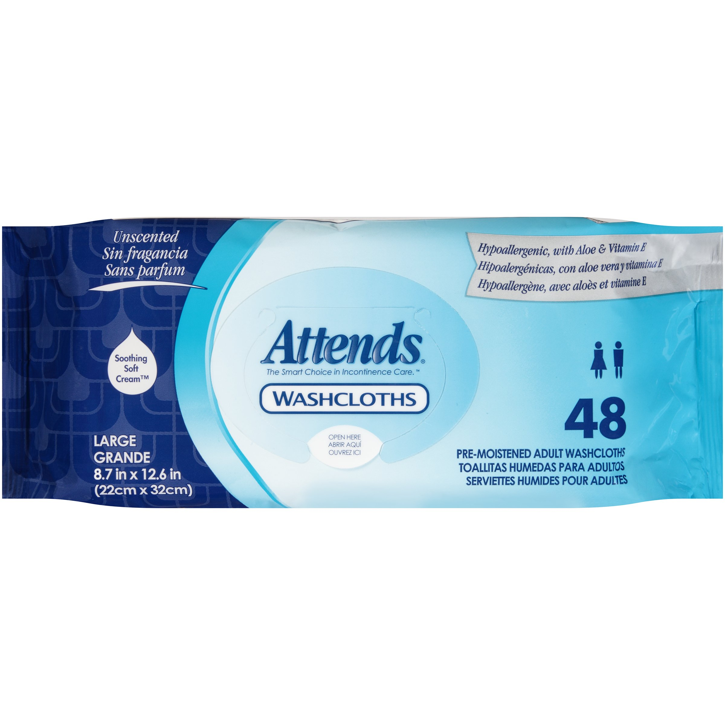 Attends Unscented Washcloths for Adult Incontinence Care, hypoallergenic, Latex and Alcohol Free , 48