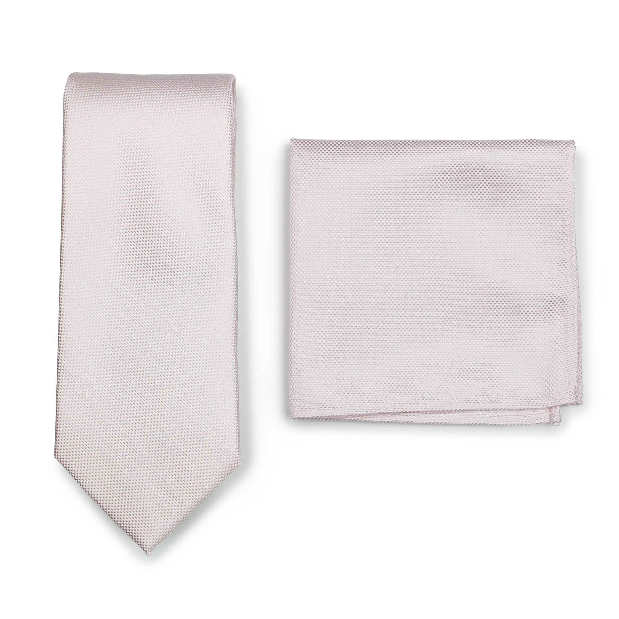 Bows-N-Ties Men's Solid Necktie and Pocket Square Set Matte Microtexture Finish (Blush)