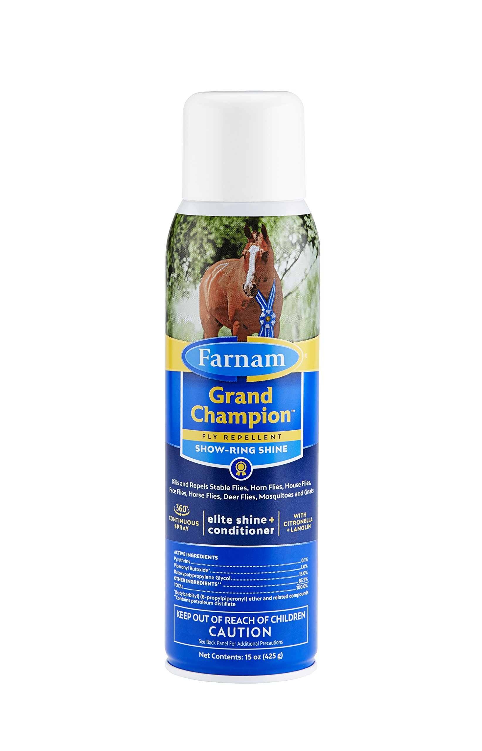 Farnam Grand Champion Fly Repellent for Horses, Plus Coat Conditioner for Show Ring Shine, 15-Ounce Non-Aerosol Spray Bottle