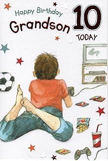 Grandson Happy 10th Birthday Card Amazoncouk Kitchen Home