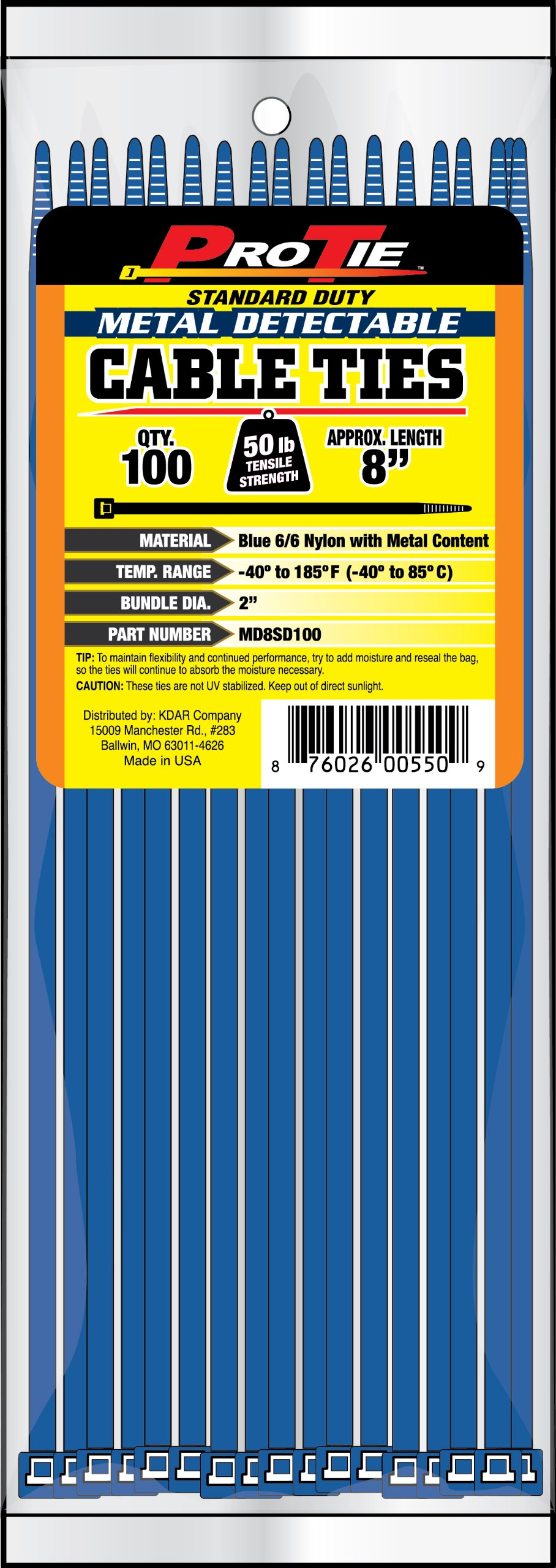 Pro Tie MD8SD100 8-Inch Metal Detectable Standard Duty Cable Ties, Blue, 100-Pack