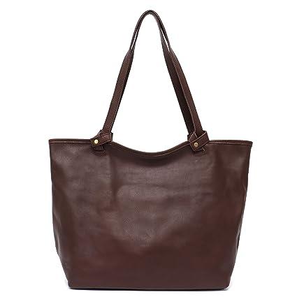 c1f903d6e16d Amazon.com  STEPHIECATH Women Bags Vintage Cow Leather Shoulder Bag Large Tote  Luxury Real Skin Female Handbag Liner Bag (BROWN)  Musical Instruments