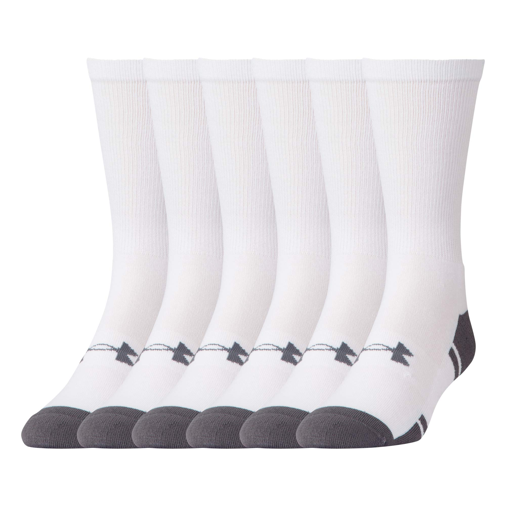 UNDER ARMOUR Resistor 3.0 Crew Socks, White/Graphite, Shoe Size: Mens 12-16 by Under Armour