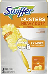 Procter & Gamble Swiffer, 360 Starter Kit, Includes 1 Handle & 2 Dusters, Yellow